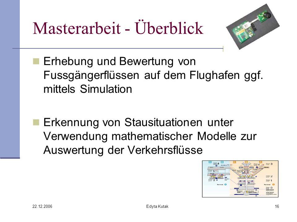 22.12.2006 Edyta Kutak16 Masterarbeit - Überblick Erhebung und Bewertung von Fussgängerflüssen auf dem Flughafen ggf.