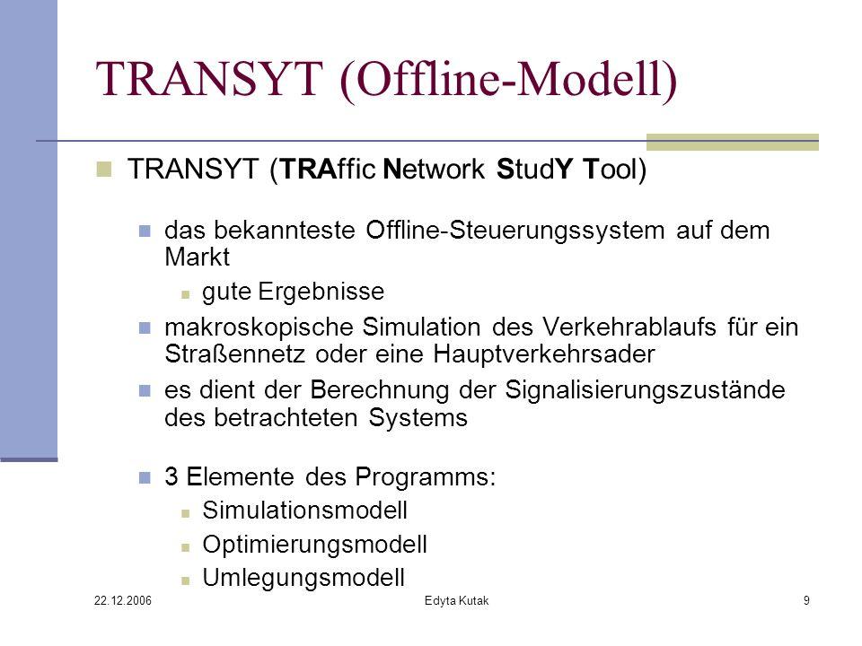 22.12.2006 Edyta Kutak9 TRANSYT (Offline-Modell) TRANSYT (TRAffic Network StudY Tool) das bekannteste Offline-Steuerungssystem auf dem Markt gute Ergebnisse makroskopische Simulation des Verkehrablaufs für ein Straßennetz oder eine Hauptverkehrsader es dient der Berechnung der Signalisierungszustände des betrachteten Systems 3 Elemente des Programms: Simulationsmodell Optimierungsmodell Umlegungsmodell