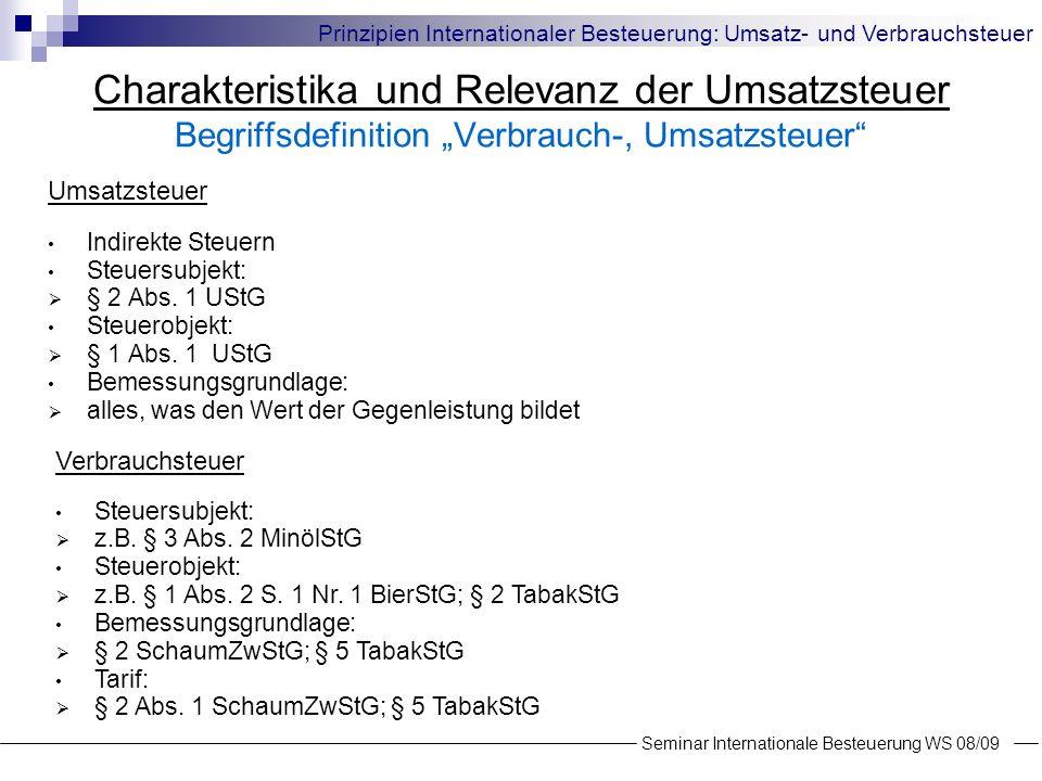Charakteristika und Relevanz der Umsatzsteuer Begriffsdefinition Verbrauch-, Umsatzsteuer Steuertarif Quelle: Europäische Kommission (2008) Seminar Internationale Besteuerung WS 08/09 Prinzipien Internationaler Besteuerung: Umsatz- und Verbrauchsteuer