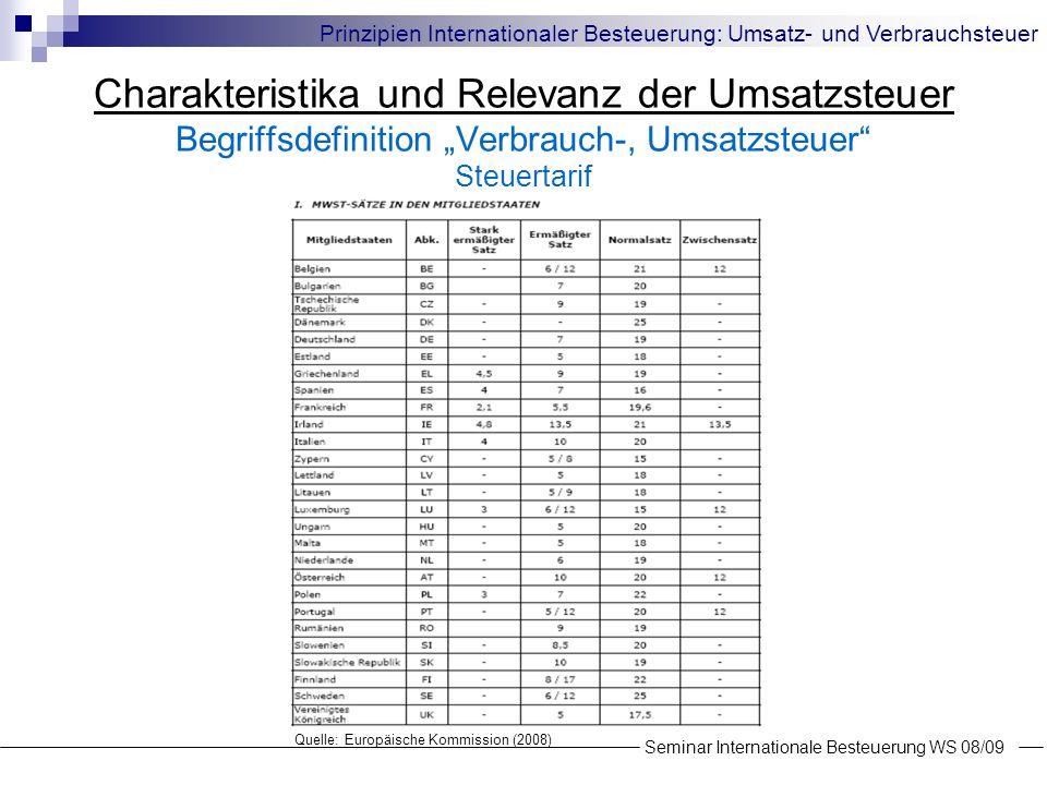 Charakteristika und Relevanz der Umsatzsteuer Begriffsdefinition Verbrauch-, Umsatzsteuer Steuertarif Quelle: Europäische Kommission (2008) Seminar In
