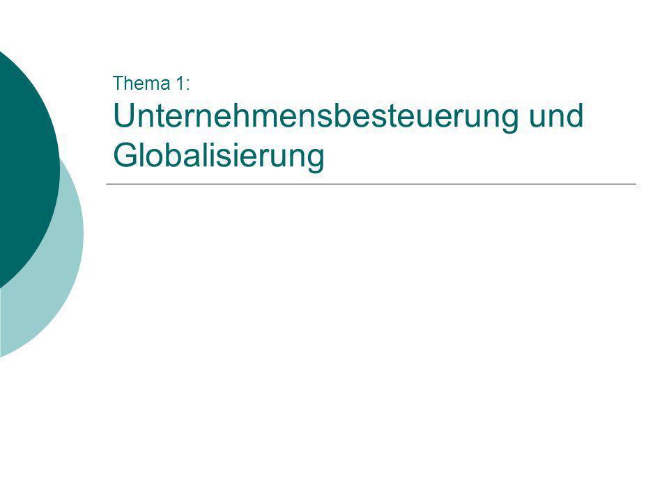 Thema 1: Unternehmensbesteuerung und Globalisierung