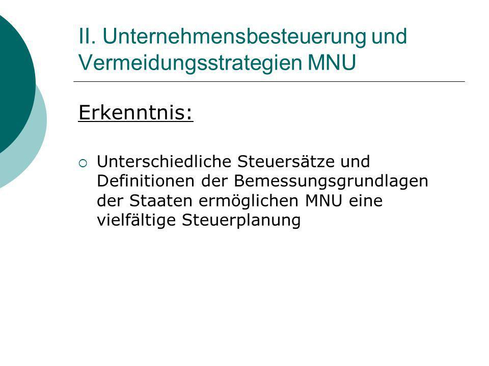 II. Unternehmensbesteuerung und Vermeidungsstrategien MNU Erkenntnis: Unterschiedliche Steuersätze und Definitionen der Bemessungsgrundlagen der Staat