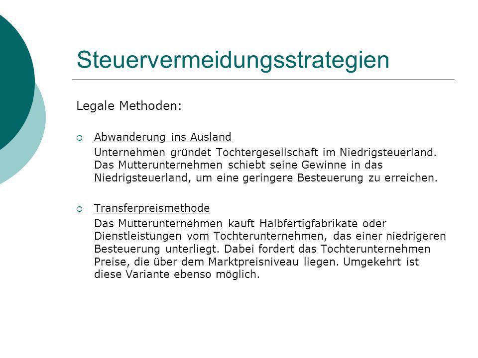 Steuervermeidungsstrategien Legale Methoden: Abwanderung ins Ausland Unternehmen gründet Tochtergesellschaft im Niedrigsteuerland. Das Mutterunternehm