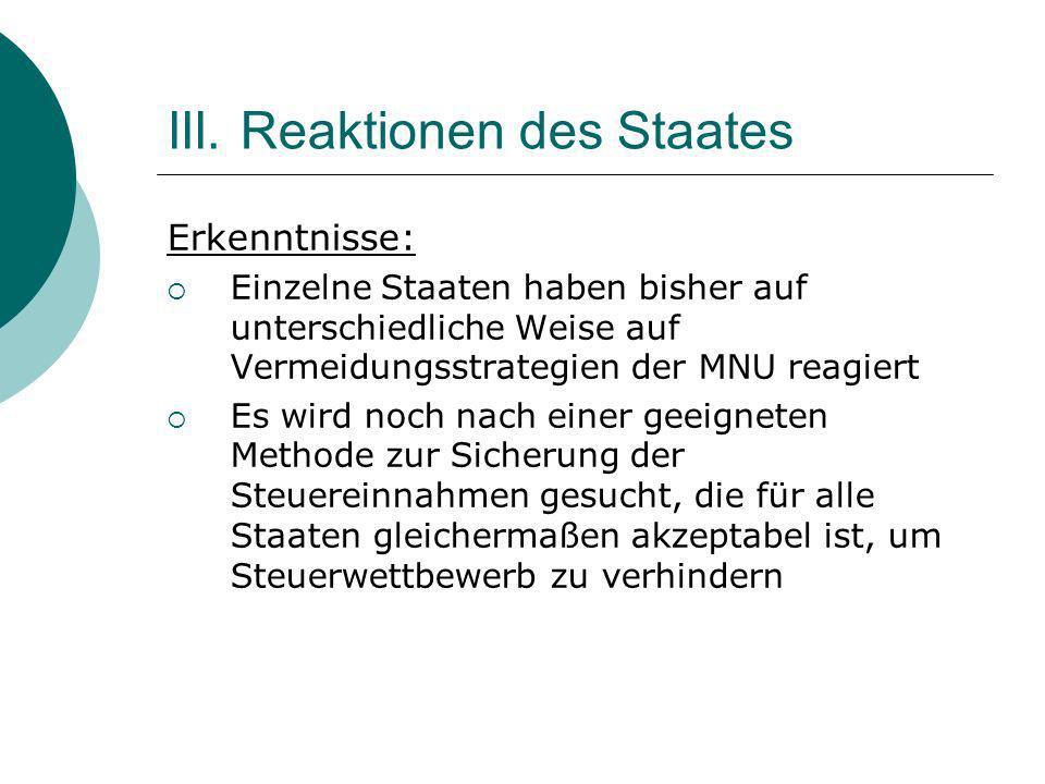 III. Reaktionen des Staates Erkenntnisse: Einzelne Staaten haben bisher auf unterschiedliche Weise auf Vermeidungsstrategien der MNU reagiert Es wird