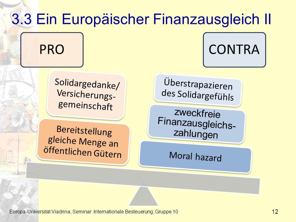 3.3 Ein Europäischer Finanzausgleich II Europa-Universität Viadrina, Seminar: Internationale Besteuerung, Gruppe 10 12 PROCONTRA Moral hazard zweckfre