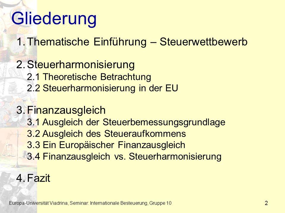 Gliederung Europa-Universität Viadrina, Seminar: Internationale Besteuerung, Gruppe 10 2 1.Thematische Einführung – Steuerwettbewerb 2.Steuerharmonisi