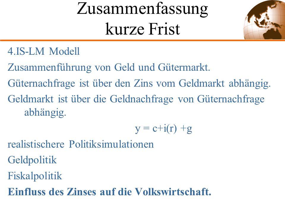 Zusammenfassung kurze Frist 4.IS-LM Modell Zusammenführung von Geld und Gütermarkt.