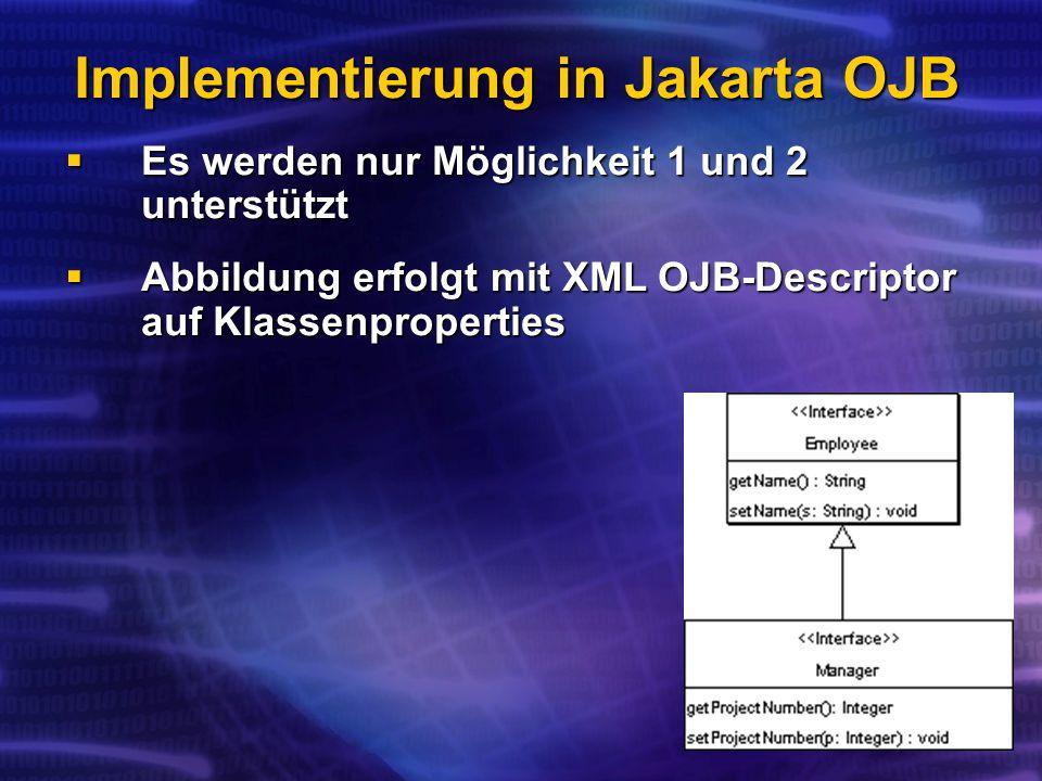 Implementierung in Jakarta OJB Es werden nur Möglichkeit 1 und 2 unterstützt Es werden nur Möglichkeit 1 und 2 unterstützt Abbildung erfolgt mit XML OJB-Descriptor auf Klassenproperties Abbildung erfolgt mit XML OJB-Descriptor auf Klassenproperties