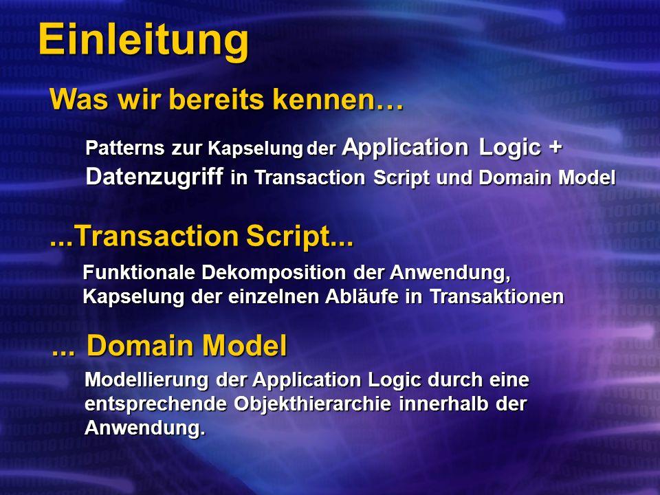 Was wir bereits kennen… Einleitung...Transaction Script......