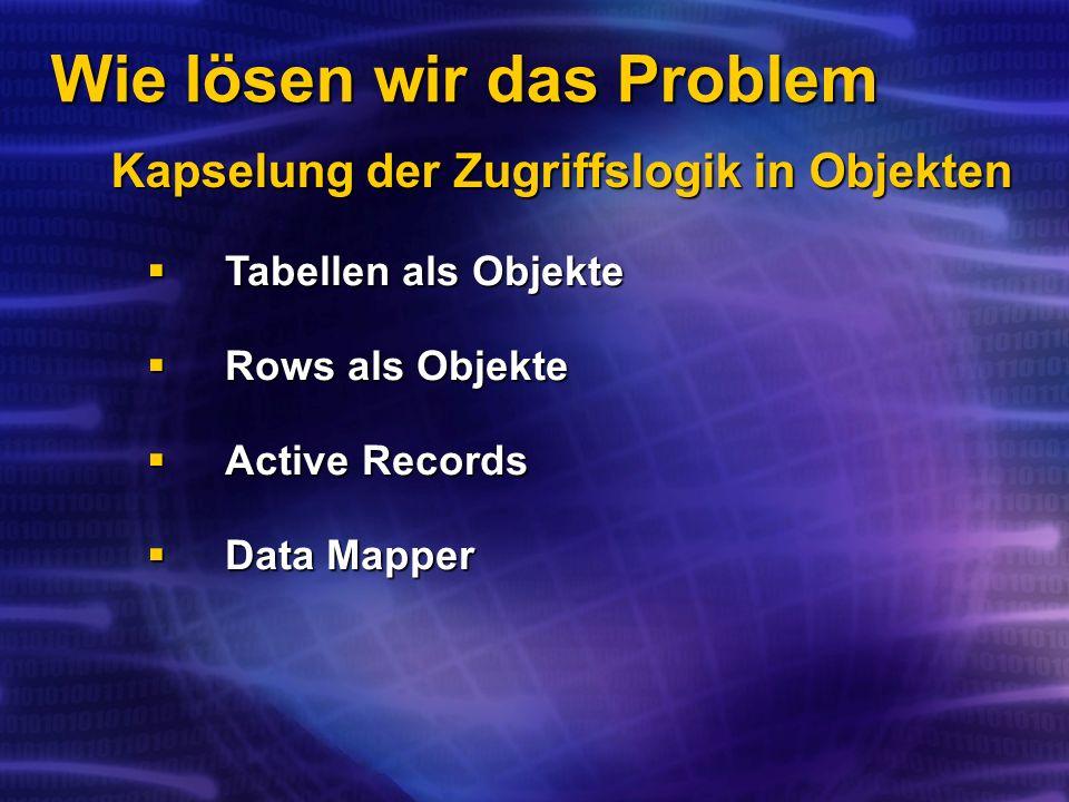 Wie lösen wir das Problem Kapselung der Zugriffslogik in Objekten Tabellen als Objekte Tabellen als Objekte Rows als Objekte Rows als Objekte Active Records Active Records Data Mapper Data Mapper