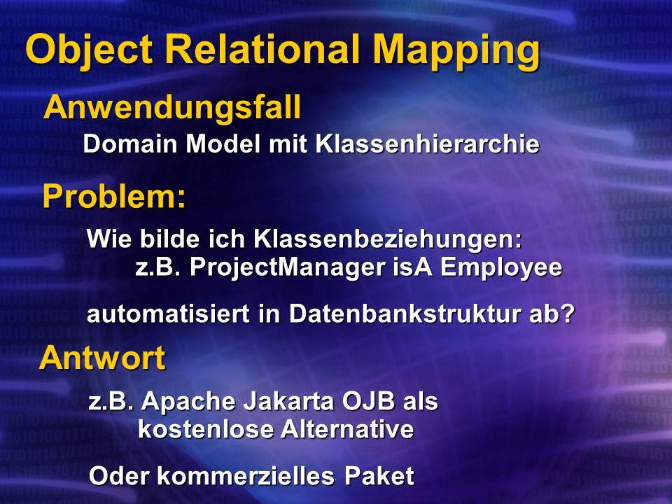 Object Relational Mapping Domain Model mit Klassenhierarchie Anwendungsfall Wie bilde ich Klassenbeziehungen: z.B.
