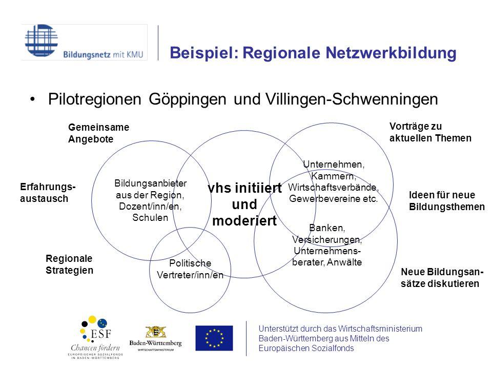 Unterstützt durch das Wirtschaftsministerium Baden-Württemberg aus Mitteln des Europäischen Sozialfonds Pilotregionen Göppingen und Villingen-Schwenni