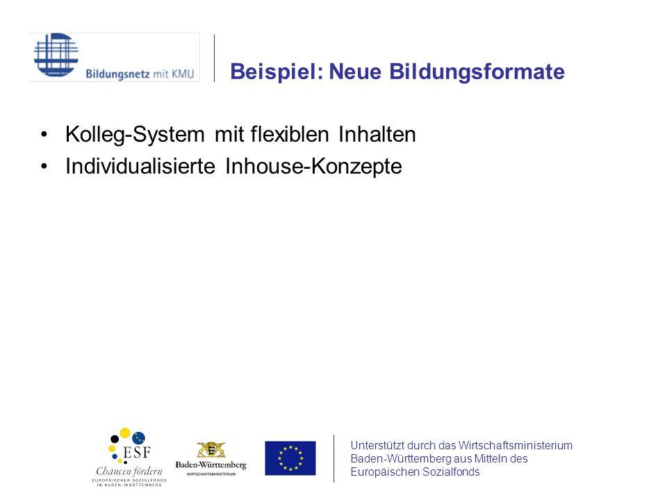 Unterstützt durch das Wirtschaftsministerium Baden-Württemberg aus Mitteln des Europäischen Sozialfonds Kolleg-System mit flexiblen Inhalten Individualisierte Inhouse-Konzepte Beispiel: Neue Bildungsformate
