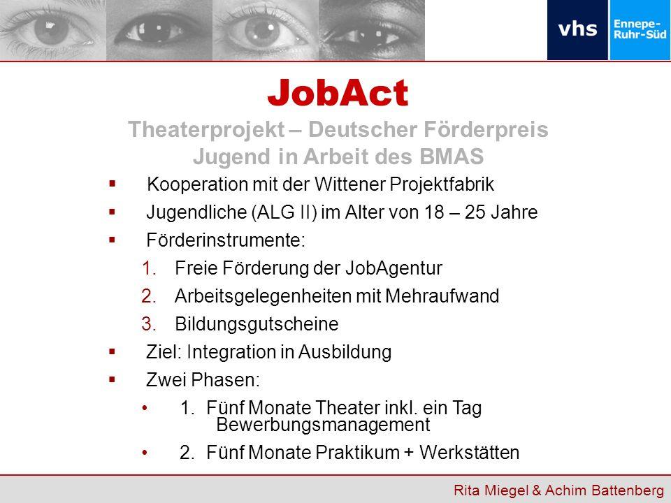 Kooperation mit der Wittener Projektfabrik Jugendliche (ALG II) im Alter von 18 – 25 Jahre Förderinstrumente: 1.Freie Förderung der JobAgentur 2.Arbei