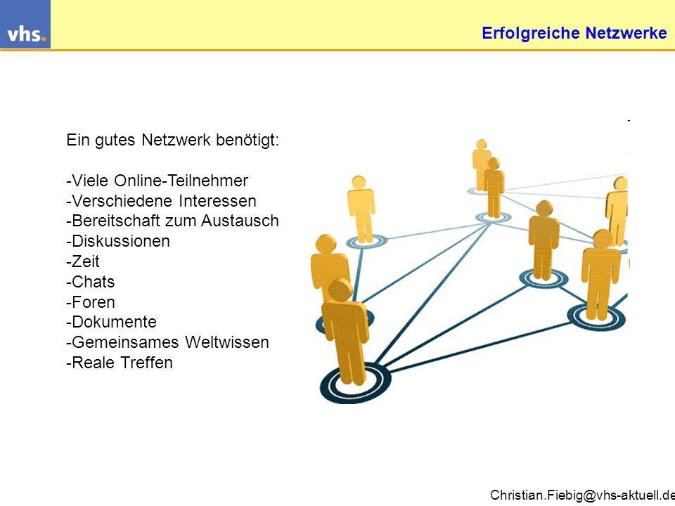 Christian.Fiebig@vhs-aktuell.de Web2.0: Blogs, Wikis, Communties