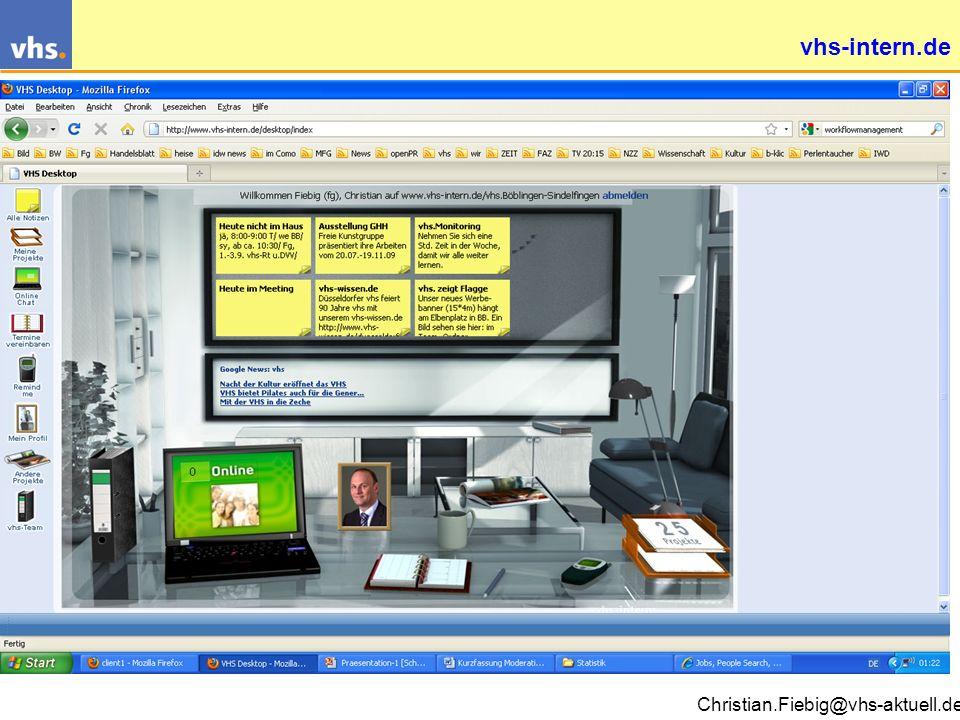 Christian.Fiebig@vhs-aktuell.de Die vhs-Kommunikationspyramide 967 vhs (1) 4.000 Außenstellen (4) 7.679 Mitarbeiter (8) 191.000 Dozenten (50) 9.000.000 Kunden (9307) Lokale Teilnehmernetzwerke: www.vhs-club.de