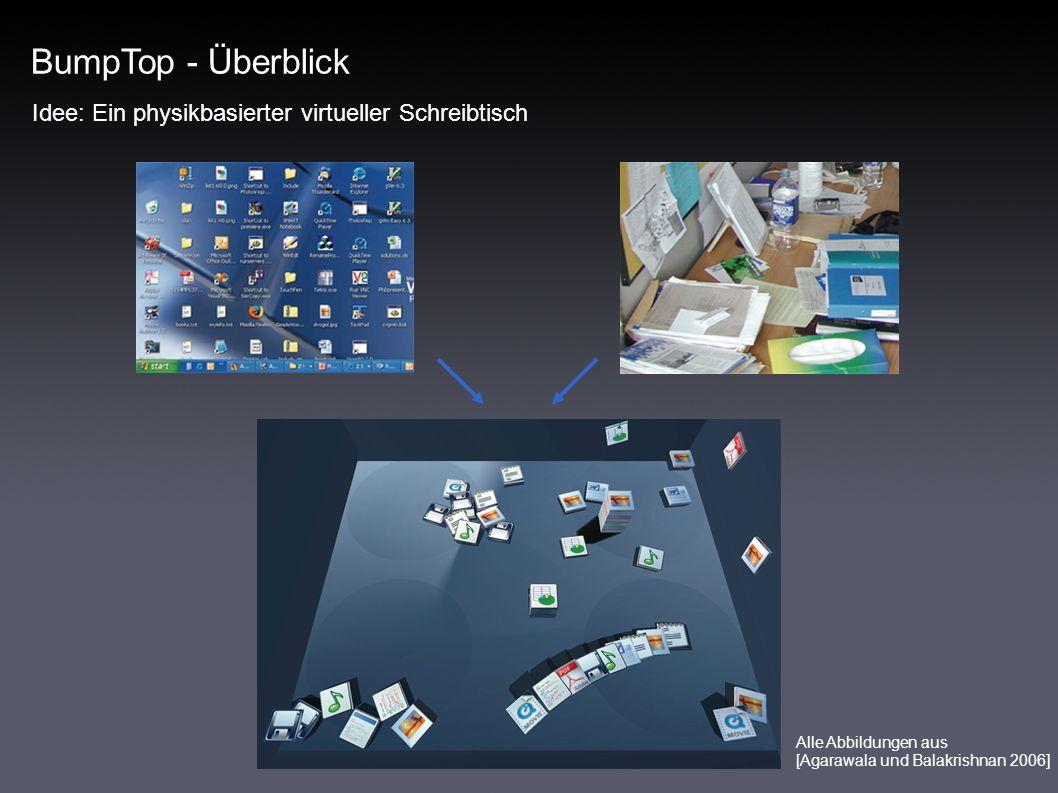 BumpTop - Überblick Idee: Ein physikbasierter virtueller Schreibtisch Alle Abbildungen aus [Agarawala und Balakrishnan 2006]