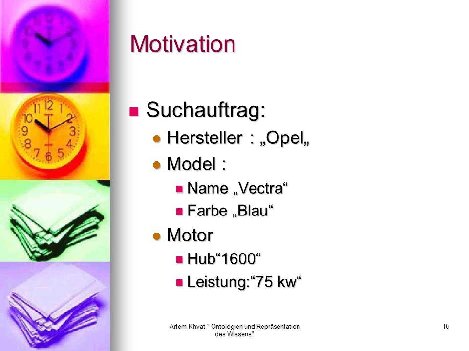 Artem Khvat Ontologien und Repräsentation des Wissens 10 Motivation Suchauftrag: Suchauftrag: Hersteller : Opel Hersteller : Opel Model : Model : Name Vectra Name Vectra Farbe Blau Farbe Blau Motor Motor Hub1600 Hub1600 Leistung:75 kw Leistung:75 kw