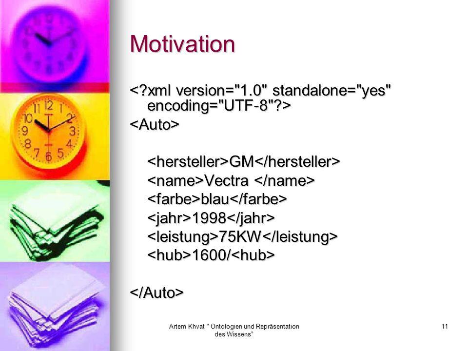Artem Khvat Ontologien und Repräsentation des Wissens 11 Motivation <Auto><hersteller>GM</hersteller> Vectra Vectra <farbe>blau</farbe><jahr>1998</jahr><leistung>75KW</leistung><hub>1600/<hub></Auto>
