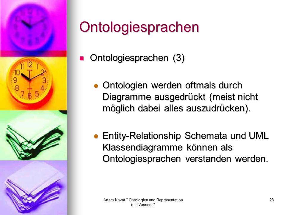 Artem Khvat Ontologien und Repräsentation des Wissens 23 Ontologiesprachen Ontologiesprachen (3) Ontologiesprachen (3) Ontologien werden oftmals durch Diagramme ausgedrückt (meist nicht möglich dabei alles auszudrücken).