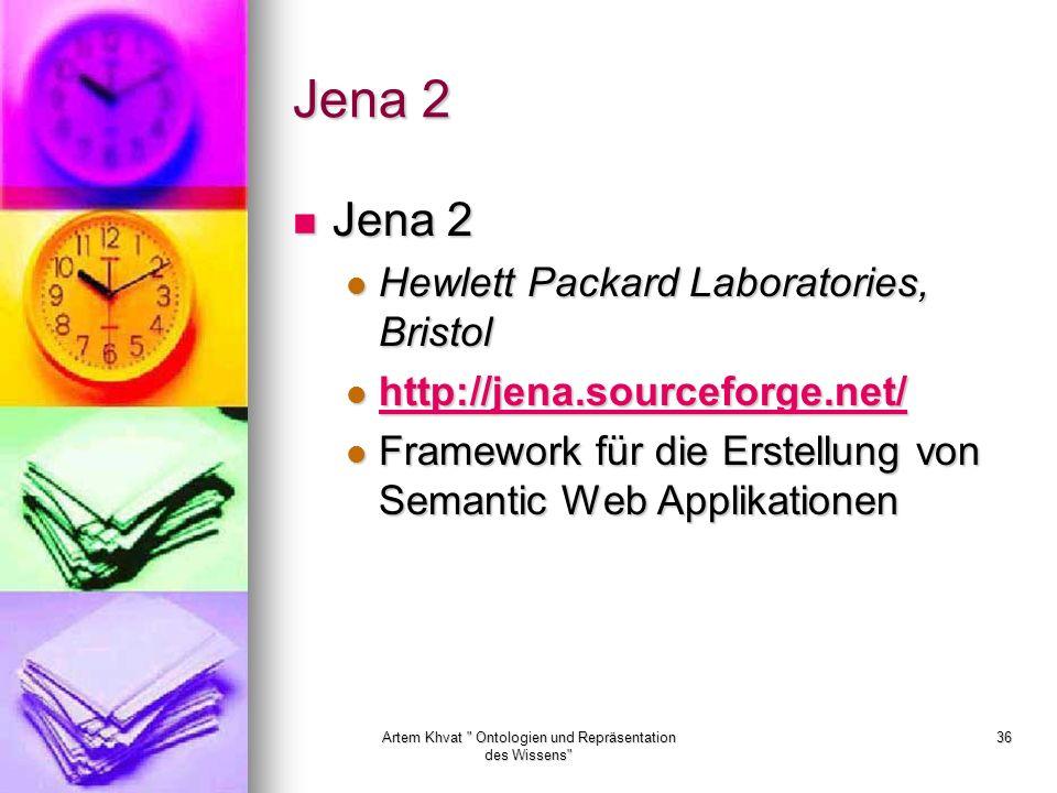 Artem Khvat Ontologien und Repräsentation des Wissens 36 Jena 2 Jena 2 Jena 2 Hewlett Packard Laboratories, Bristol Hewlett Packard Laboratories, Bristol http://jena.sourceforge.net/ http://jena.sourceforge.net/ http://jena.sourceforge.net/ Framework für die Erstellung von Semantic Web Applikationen Framework für die Erstellung von Semantic Web Applikationen