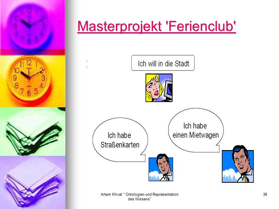 Artem Khvat Ontologien und Repräsentation des Wissens 38 Masterprojekt Ferienclub Masterprojekt Ferienclub