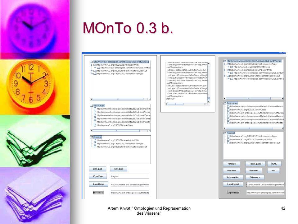 Artem Khvat Ontologien und Repräsentation des Wissens 42 MOnTo 0.3 b.