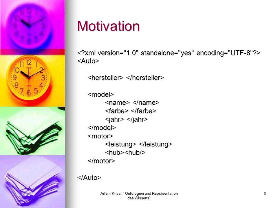 Artem Khvat Ontologien und Repräsentation des Wissens 9 Motivation <Auto> <model> </model><motor> <hub><hub/></motor></Auto>
