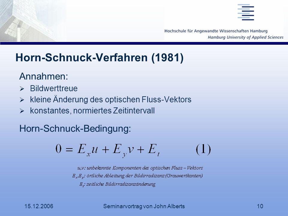 15.12.2006Seminarvortrag von John Alberts10 Horn-Schnuck-Verfahren (1981) Annahmen: Bildwerttreue kleine Änderung des optischen Fluss-Vektors konstant