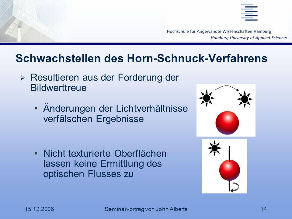 15.12.2006Seminarvortrag von John Alberts14 Schwachstellen des Horn-Schnuck-Verfahrens Resultieren aus der Forderung der Bildwerttreue Änderungen der