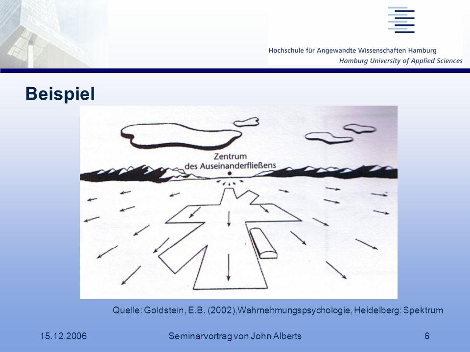 15.12.2006Seminarvortrag von John Alberts6 Beispiel Quelle: Goldstein, E.B. (2002),Wahrnehmungspsychologie, Heidelberg: Spektrum