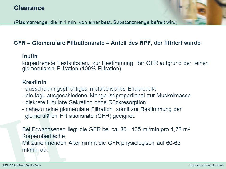 HELIOS Klinikum Berlin-Buch Nuklearmedizinische Klinik Clearance Clearance (Plasmamenge, die in 1 min. von einer best. Substanzmenge befreit wird) GFR