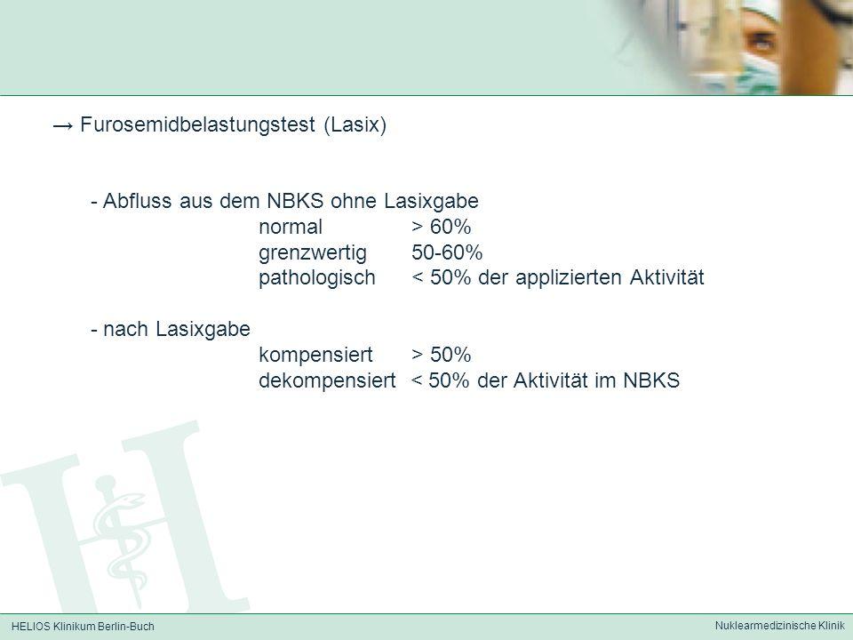 HELIOS Klinikum Berlin-Buch Nuklearmedizinische Klinik Furosemidbelastungstest (Lasix) - Abfluss aus dem NBKS ohne Lasixgabe normal > 60% grenzwertig