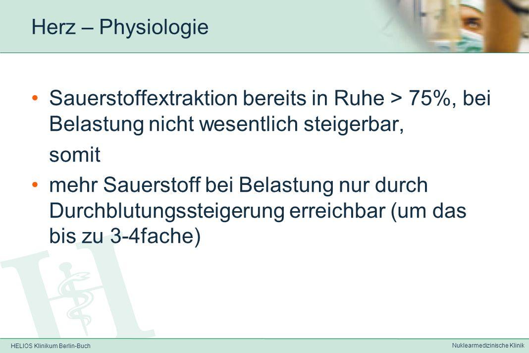 HELIOS Klinikum Berlin-Buch Nuklearmedizinische Klinik Herz - Physiologie Energiegewinnung aus folgenden Substraten: –Glukose –freien Fettsäuren –Laktat