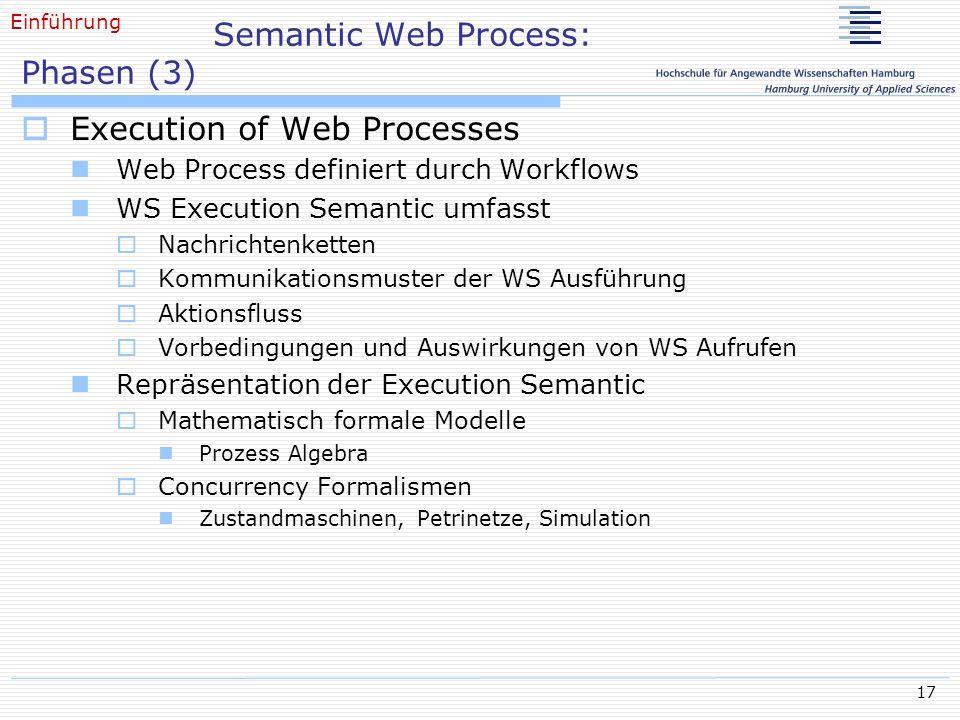 17 Semantic Web Process: Phasen (3) Execution of Web Processes Web Process definiert durch Workflows WS Execution Semantic umfasst Nachrichtenketten K