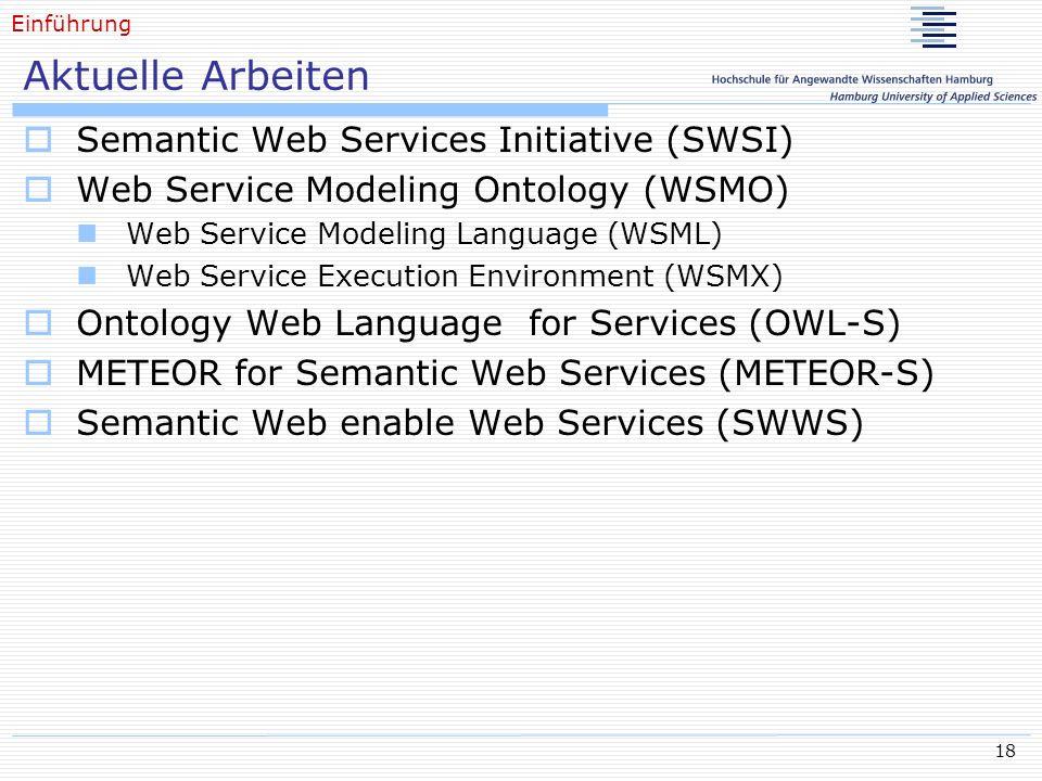 18 Aktuelle Arbeiten Semantic Web Services Initiative (SWSI) Web Service Modeling Ontology (WSMO) Web Service Modeling Language (WSML) Web Service Execution Environment (WSMX) Ontology Web Language for Services (OWL-S) METEOR for Semantic Web Services (METEOR-S) Semantic Web enable Web Services (SWWS) Einführung