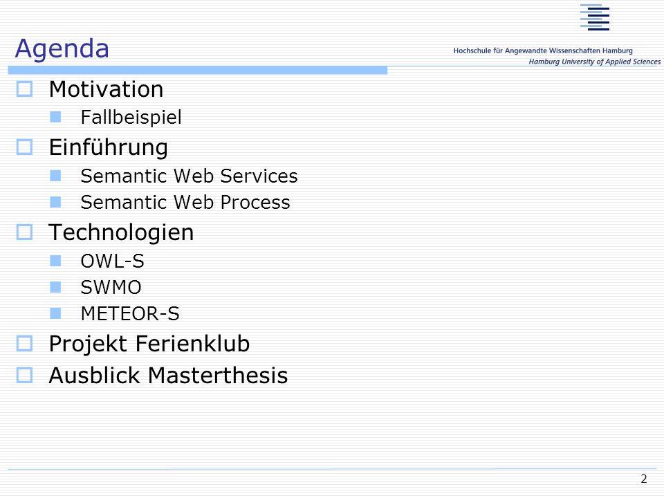 23 OWL-S Anforderungen Beschreibungssprache für WS Algorithmus mit dem man WS findet Formal DAIML-S, basiert auf OWL Beschreibungssprache für Spezifizierung der Funktionen (Precondition, Effect) Semantische Typisierung (Input, Output) Anfragen und Veröffentlichung Setzt voraus: Semantic Concepts Sharing Semantische Spezifikation Flexibilisierte Automatisierung der WS Dynamische Dienstaufindung- und Aufruf Technologien