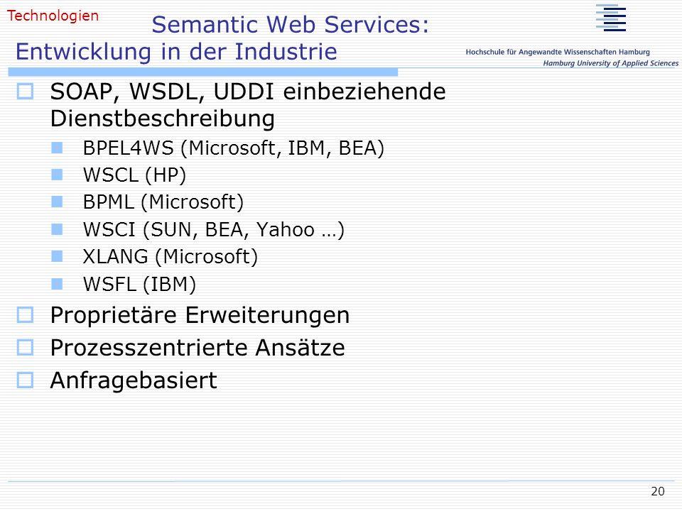 20 Semantic Web Services: Entwicklung in der Industrie SOAP, WSDL, UDDI einbeziehende Dienstbeschreibung BPEL4WS (Microsoft, IBM, BEA) WSCL (HP) BPML
