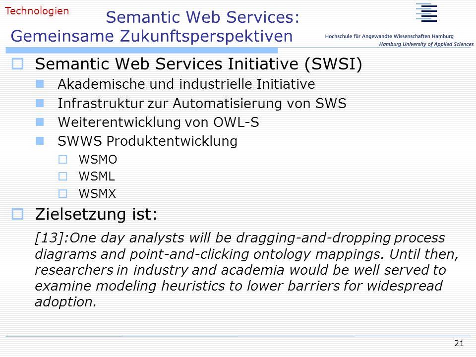 21 Semantic Web Services: Gemeinsame Zukunftsperspektiven Semantic Web Services Initiative (SWSI) Akademische und industrielle Initiative Infrastruktu