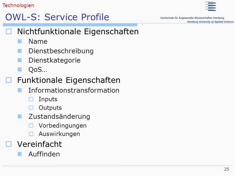 25 OWL-S: Service Profile Nichtfunktionale Eigenschaften Name Dienstbeschreibung Dienstkategorie QoS… Funktionale Eigenschaften Informationstransforma
