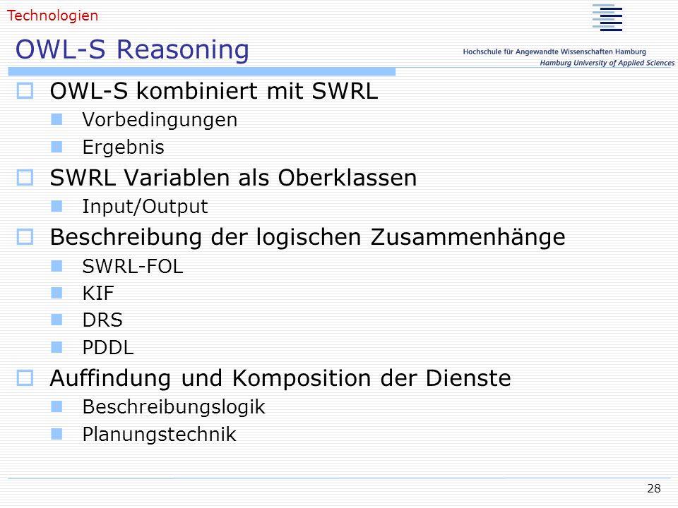 28 OWL-S Reasoning OWL-S kombiniert mit SWRL Vorbedingungen Ergebnis SWRL Variablen als Oberklassen Input/Output Beschreibung der logischen Zusammenhä