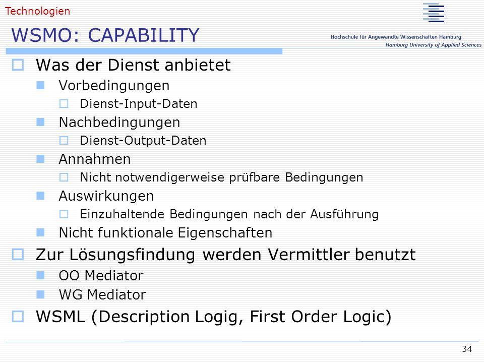 34 WSMO: CAPABILITY Was der Dienst anbietet Vorbedingungen Dienst-Input-Daten Nachbedingungen Dienst-Output-Daten Annahmen Nicht notwendigerweise prüf