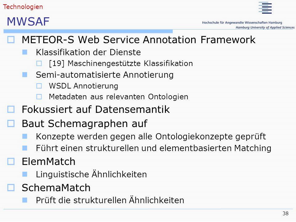 38 MWSAF METEOR-S Web Service Annotation Framework Klassifikation der Dienste [19] Maschinengestützte Klassifikation Semi-automatisierte Annotierung W