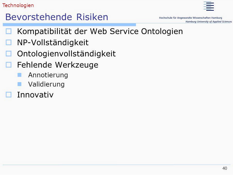 40 Bevorstehende Risiken Kompatibilität der Web Service Ontologien NP-Vollständigkeit Ontologienvollständigkeit Fehlende Werkzeuge Annotierung Validie