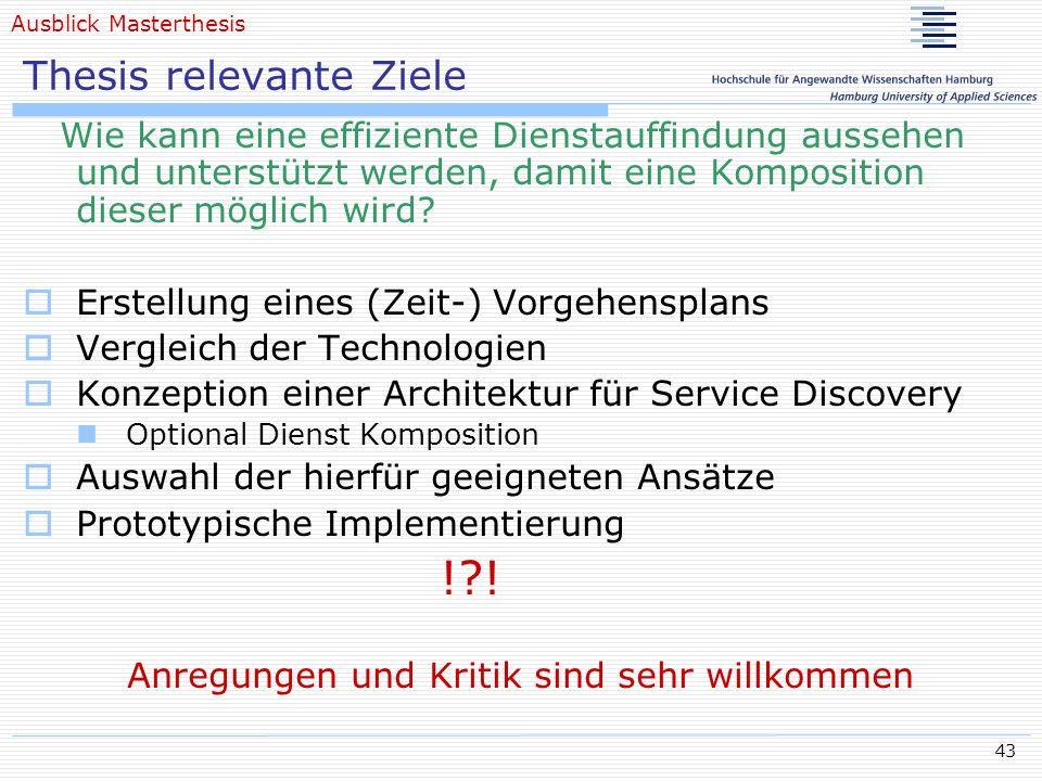 43 Thesis relevante Ziele Wie kann eine effiziente Dienstauffindung aussehen und unterstützt werden, damit eine Komposition dieser möglich wird? Erste