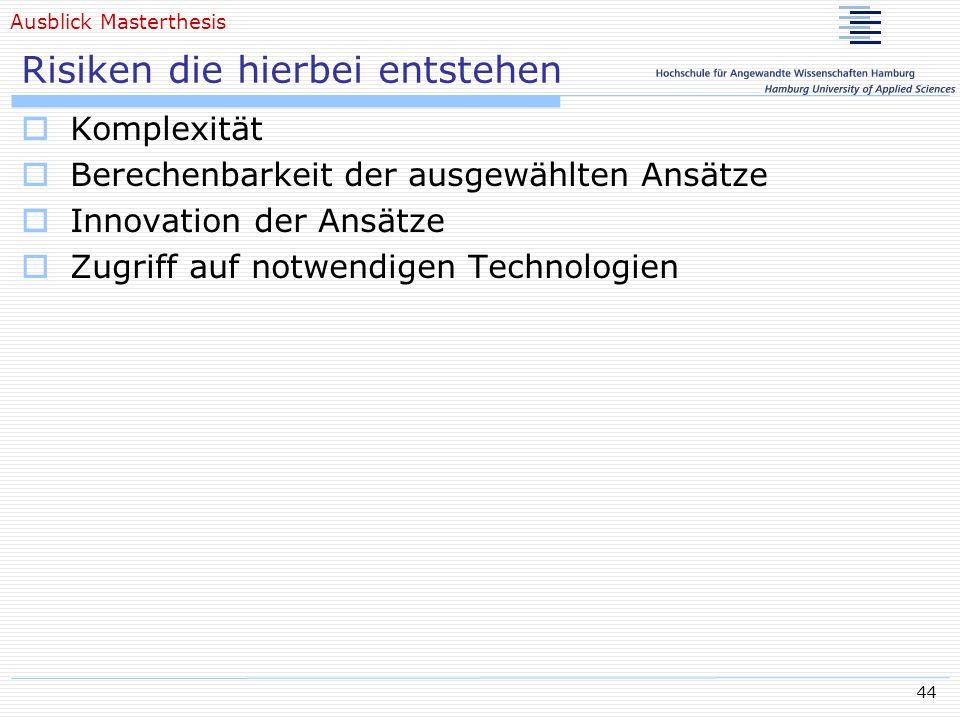 44 Risiken die hierbei entstehen Komplexität Berechenbarkeit der ausgewählten Ansätze Innovation der Ansätze Zugriff auf notwendigen Technologien Ausb