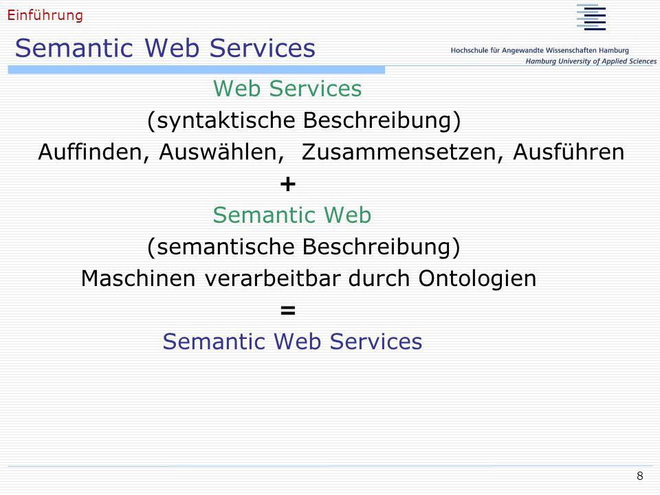 9 Semantic Web Services: Ontologie Konzepte Domänen-relevante Basiselemente, beschrieben durch Attribute, organisiert mit Taxonomien Instanzen Repräsentiert spezifische Elemente eines Konzeptes Relationen Beziehungen zwischen Domänen-relevanten Konzepten Funktionen Methoden die auf spezifische Instanzen eines Konzeptes aufgerufen werden können Axiome Modellsätze die immer wahr sind An ontology, is a formal, explicit specification of a shared conceptualization [Gruber, 1993] Einführung