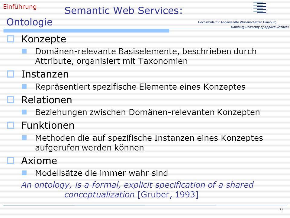 9 Semantic Web Services: Ontologie Konzepte Domänen-relevante Basiselemente, beschrieben durch Attribute, organisiert mit Taxonomien Instanzen Repräse