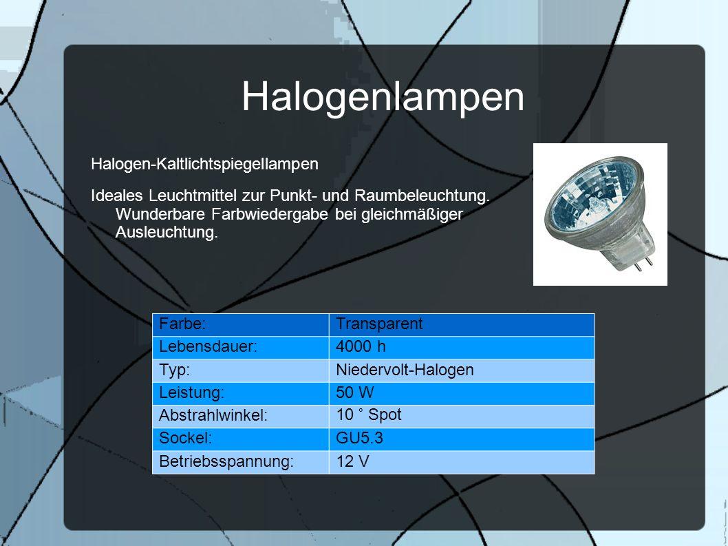 Halogenlampen Halogen-Kaltlichtspiegellampen Ideales Leuchtmittel zur Punkt- und Raumbeleuchtung. Wunderbare Farbwiedergabe bei gleichmäßiger Ausleuch