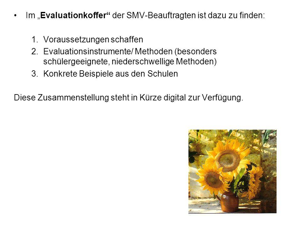 Im Evaluationkoffer der SMV-Beauftragten ist dazu zu finden: 1.Voraussetzungen schaffen 2.Evaluationsinstrumente/ Methoden (besonders schülergeeignete